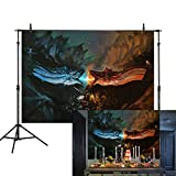 Allenjoy 7X5ft Halloween Photography Backdrop Ice and Fire Dragon Dracarys Knight Queen Magic Adventure Fight Background Photo Studio Booth Birthday Party Decorations Cake Table Banner
