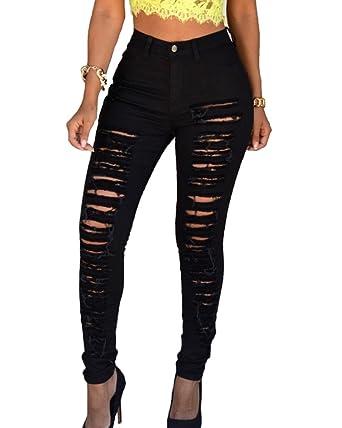 Damen Jeans Zerrissen Ripped Hose Skinny Hosen Röhrenjeans Bleistift Hosen   Amazon.de  Bekleidung 3396f7aff3