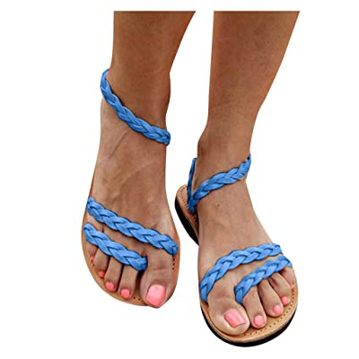 Dainzusyful Women's Criss Cross Flat Sandals Summer Flip-Flops Straw Sandals Casual Open Toe Beach Shoes: Clothing