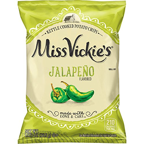 Miss Vickie's Jalapeño Flavored Kettle Cooked Chips, 1.375 Ounce (64 Count), Variaous Flavors