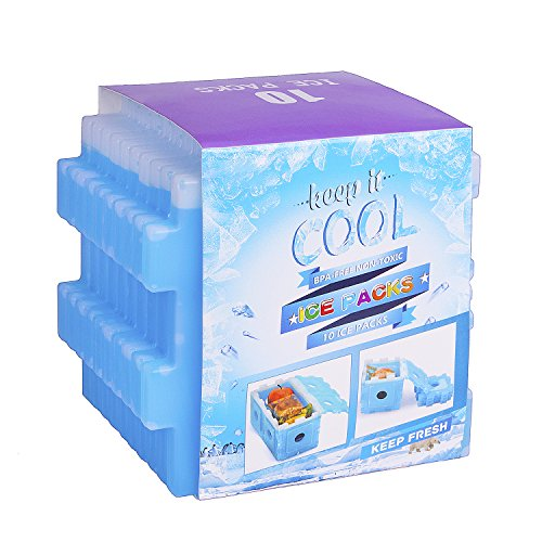 Ice Packs, OICEPACK Cool Pack for Lunch Box, Freezer Packs for Lunch Bags and Cooler Bags, Slim Reusable Cold Packs, Long-Lasting Freezer Cool Coolers, set of 10, Blue