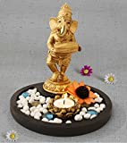 TiedRibbons® Golden Ganesha playing Tabla Lord ganesh idol | diwali decorations items for home | home decorative items