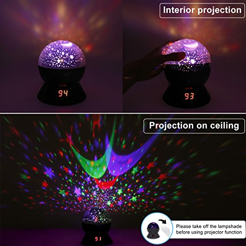 Star Sky Night Lamp,ANTEQI Baby Lights 360 Degree Romantic Room Rotating Cosmos Star Projector With LED Timer Auto-Shut Off,USB Cable For Kid Bedroom,Christmas Gift (Black)
