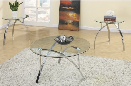 3 Piece Metal Glass Coffee Table Set by Poundex - 3 Piece Round Coffee Table