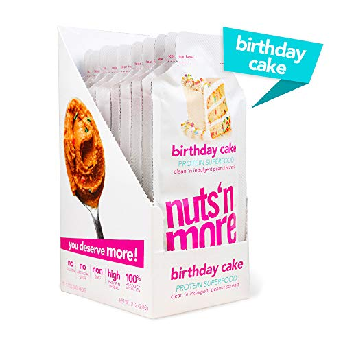 Nuts N More Birthday Cake Peanut Spread, High Protein Nut Butter Snack, Low Carb, Low Sugar, Gluten-Free, All Natural,10-Pack Snack Size