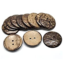 Elisona-100pcs Brown 25mm Wooden Button Coconut Shell 2 Holes Clothing Sewing Buttons for Shirt Baby Sweaters