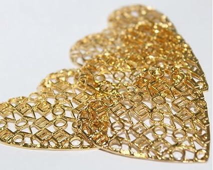 Paquete 3 Dijes Corazon Love Love Goldfilled 14/20, De 5,2cm De