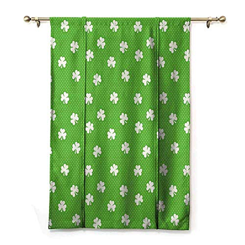 Homrkey Insulated Blackout Blinds Irish Old Fashioned Polka Dots Backdrop with Cultural Flowers Clovers Retro Classic Darkening and Thermal Insulating W48 xL64 Lime Green White