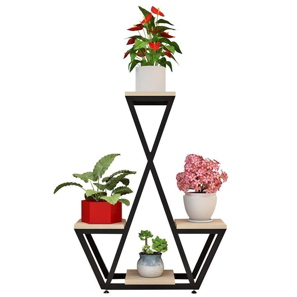 多層植物フラワースタンドフロアスタンド、クリエイティブスタイル4層リビングルームグリーン植物ディスプレイホルダー収納ラック4ポット用屋内リビングルームバルコニーパティオ (色 : ウッドカラー, サイズ さいず : Black legs) B07RVK2JN5 ウッドカラー Black legs