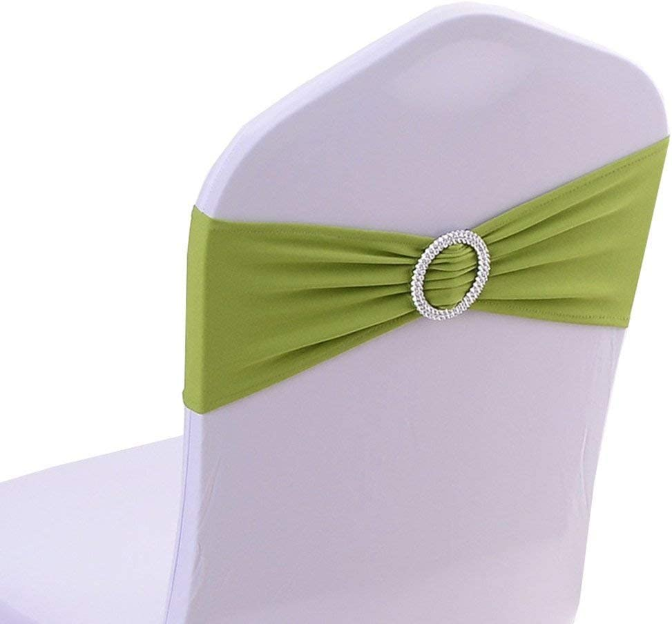 Tvoip 10PCS Chair Cover Stretch Band with Buckle Slider Sashes Bow Wedding Banquet Chair Decoration (Grass Green)