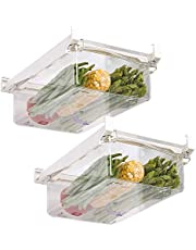 """Refrigerator Storage Container, Pull Out Refrigerator Drawers, Egg Storage Container for Refrigerator, Fit for Fridge Shelf Under 0.6""""(1-grid) (2 Refrigerator Storage Boxes)"""