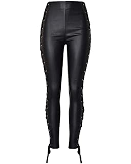 7b5aaf6509986a PU Leather Denim Pants for Women Stretchy Rider Jeans Leggings Black Red