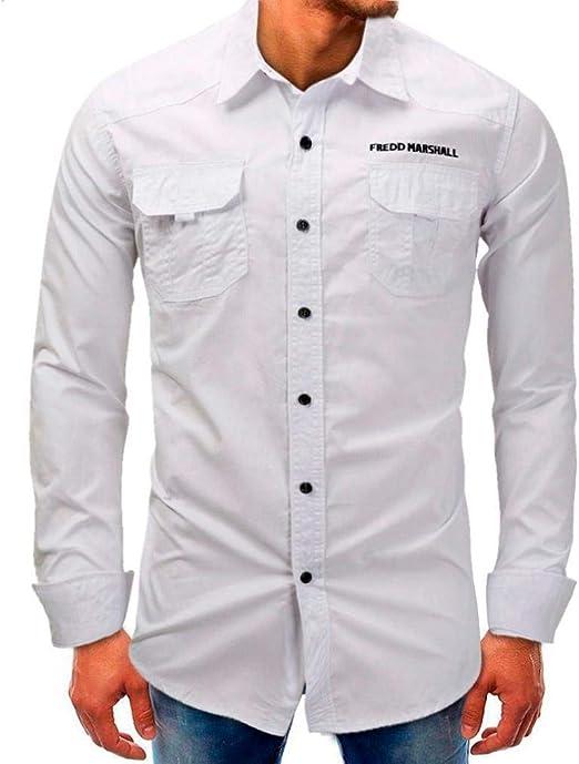 Qiusa Camisa Polo para Hombre en Blanco Camiseta Manga Larga Top ...