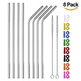 Long Stainless Steel Straws, Set of 8 Reusable Metal Drinking Straws (4 Straight + 4 Bent) with 8 Colors Silicone Straw Tips and Silencers, Two Free Cleaning Brushes
