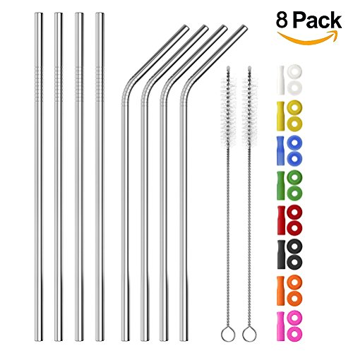 Long Stainless Steel Straws, Set of 8 Reusable Metal Drinking Straws (4 Straight + 4 Bent) with 8 Colors Silicone Straw Tips and Silencers, Two Free Cleaning Brushes by BB