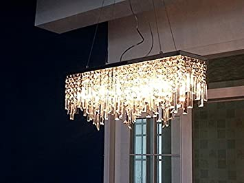 Siljoy Modern Crystal Chandelier Lighting Rectangular Dining Room Pendant Lamp L32quot X W8quot