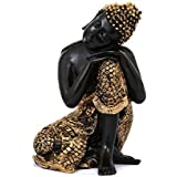 Tied Ribbons Resin Buddha Statue (11.43 cm x 11.43 cm x 17.78 cm, Gold)