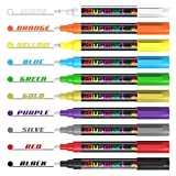Chalk Pens, Blusmart 10pcs Bright Liquid Chalk Pens Glass Window Pens with 40pcs Chalkboard Labels, Wet Wipe Erasable, 6mm Reversible Fine or Chisel Tips, Including Gold and Silver, Children Friendly