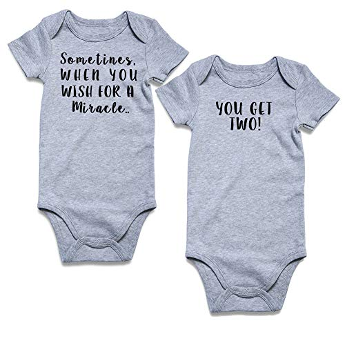 Funnycokid Twins Infant Toddler Bodysuit Sometimes When You Wish for a Miracle,You Get Two Newborn Romper 6-12 Months
