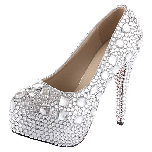 VELCANS Unique Rhinestone and Crystal Womens Bridal Shoes,Evening and Party Shoes,Wedding Shoes and Platform Bridal Pumps (9.5 B(M) US, High Heel:5.5 Inches) by VELCANS