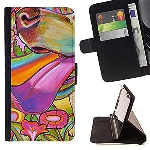 Momo Phone Case / Flip Funda de Cuero Case Cover - Pintura colorida perro Hocico de Verano; - Samsung Galaxy S4 Mini i9190