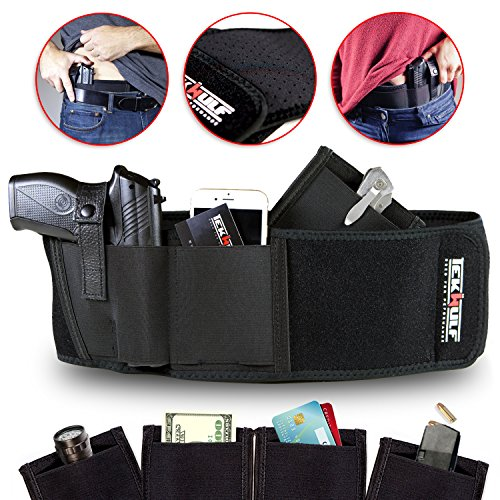 TekWulf-Elite-Conceal-Carry-Belly-Band-Gun-Holster-Multi-functional-Fits-Most-Handguns-Revolvers-Breathable-Neoprene-Unisex-Two-Storage-Pouches-with-Fast-Draw-Design-Right-Hand-Only