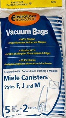 5 Miele FJM Micro filtration Vacuum Bags and 2 Filters