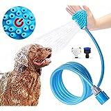 Ducha para mascotas gatos perro mascota baño accesorios multifuncional 3 en 1 pulverizador de ducha, masaje y cepillos de mascota de fácil limpieza ducha portatil perro limpiador con manguera para interior y al aire