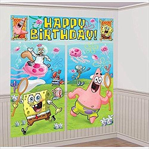 Spongebob Squarepants Giant Scene Setter Wall Decorating Kit (5pc) (Scene Kit Spongebob)