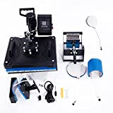 Z ZTDM 5 in 1 Digital Heat Press Transfer Sublimation Multifunction Machine,Rhinestone/T-Shirt/Hat/Mug/Plate/Cap Heat Press Mouse Pads Jigsaw Puzzles DIY Press,12''x15''w/ Dual LCD Timer 1250W