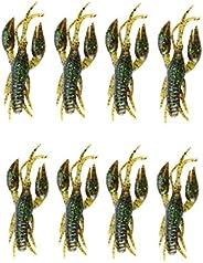 8pcs Fishing Crawfish Lure Silicone Soft Artificial Bait Crayfish 3D Slow Sinking Floating Shrimp for Carp Bas