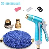 Roscloud@ Car Wash Water Gun Household Brush Truck Garden Hose Longest Expandable & Flexible Magic Hose Reel With Solid Brass Fittings (Blue) (Size : With 30M hose)
