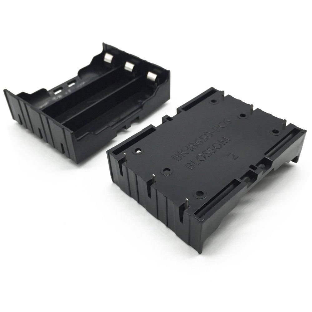 BestTong 3.7V 18650 Batteries 6 Pin Plastic Battery Holder Case Black 4Pcs