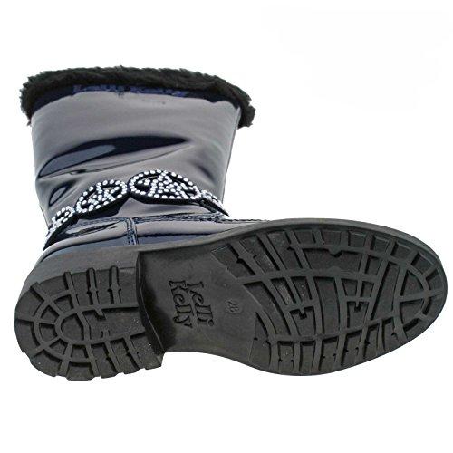 Lelli Kelly LK3694 (DE01) Ann High Blue Vernice Fur Lined Boots-32 (UK 13)