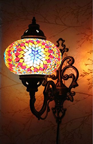 Demmex Turkish Moroccan Mosaic Tiffany Glass and Metal Wall Light Sconce (Fire)