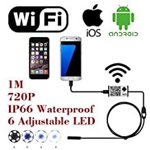 WiFi Wireless Digital Endoscope Borescope Snake Inspection Camera System for iphone iOS ipad Samsung Android Smartphone ,6 led light,9mm,2 Megapixels,720P HD IP66 Waterproof by AttoPro- 1M