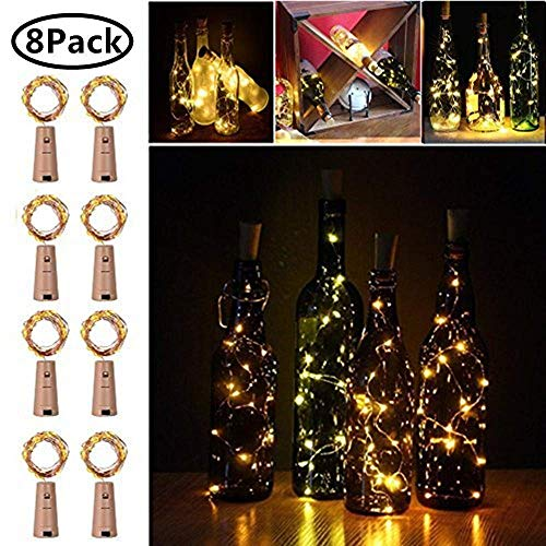 Frosted Wine Bottle - 20 LED Wine Bottle Cork Lights Copper Wire String Lights, 2M/7.2FT Battery Operated Wine Bottle Fairy Lights Bottle DIY, Christmas, Wedding Party Décor, 8 Pack (Warm White)