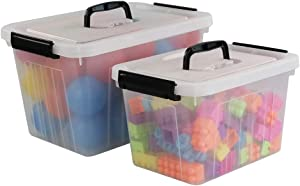 Obston 12 Quart&6 Quart Plastic Latching Box With Handles, Clear Storage Bins with Lid