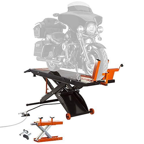 Air Motorcycle Lift - Black Widow BW HD Air OP Heavy Duty ProLift 1,500 lb Motorcycle Scissor Lift Table