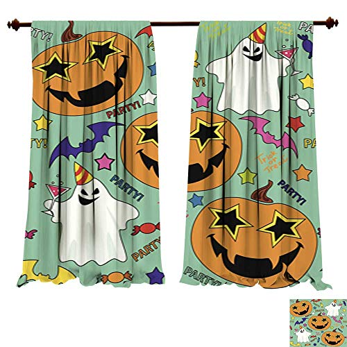 (DragonBuildingMaterials Curtains for Bedroom Vector Seamless Pattern with Having Fun Halloween Pumpkin Bedroom Living Room Modern)