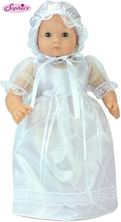Sophias 15 Inch Baby Doll Dress, Perfect for Christening, Baptism, Communion Set, Fits 15 Inch American Girl Bitty Baby Dolls Detailed and Beautiful ...