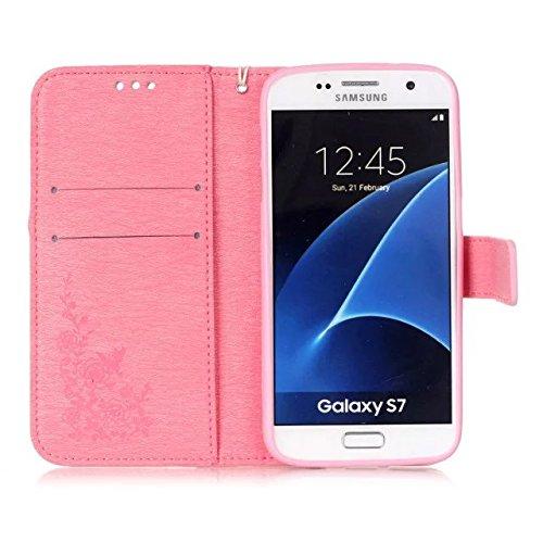 JIALUN-Personality teléfono shell Caso de Samsung S7, caja de estilo de la cartera de patrón de colores pintado diseño magnético flip folio cubierta de la cubierta de cuero de la PU para Samsung S7 Se Pink