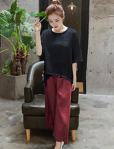noir XXL Xuanku Femmes 039;S Facile Simple Tous Les Jours De L'été T-Shirt Pant Suits,Manches Courtes Col Rond