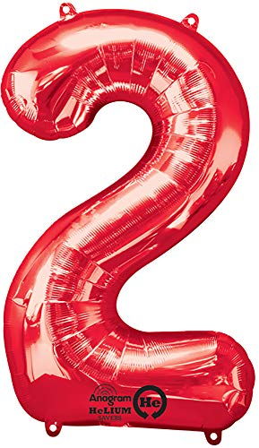 - Anagram 28277 Number 2 Red Foil Balloon, 34