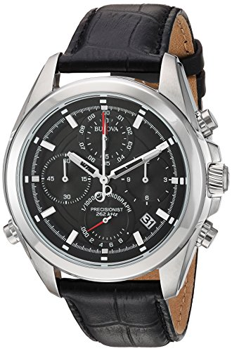Bulova-Mens-Quartz-Stainless-Steel-and-Leather-Casual-Watch-ColorBlack-Model-96B259