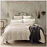 Doffapd 3pc Washed Cotton Wrinkled Soft Queen Duvet Cover Set Off-White Deal (Small Image)