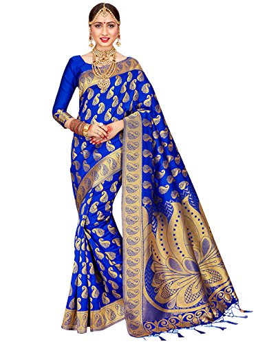 For Women Banarasi Art Silk Woven Saree l Indian Wedding Traditional Wear Sari (Blue) (Kanchipuram Sarees)