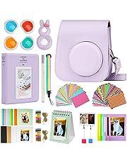 Cpano Mini 11 Camera Accessoires Bundels Compatibel met Instax Mini 11 met Camera Case/Boek Album/Selfie Len/Muur Opknoping Frames/Stickers/Pen (13 in 1) (Paars)