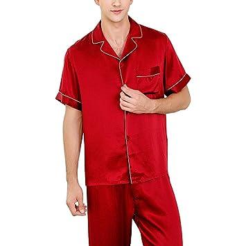 buy online 1d386 99fb3 HUIFA Pigiama da Uomo Set Camicia Rossa A Maniche Corte ...