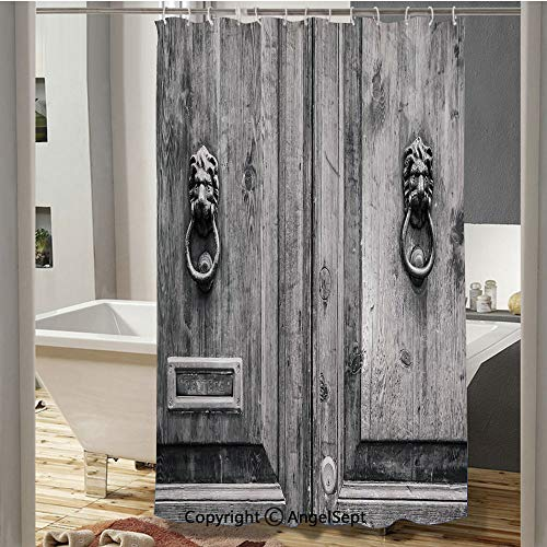 SfeatruCurtai Black and White Photography of Tuscany House Doorway Florence with Lion Head Handlers Custom Shower Curtain(72